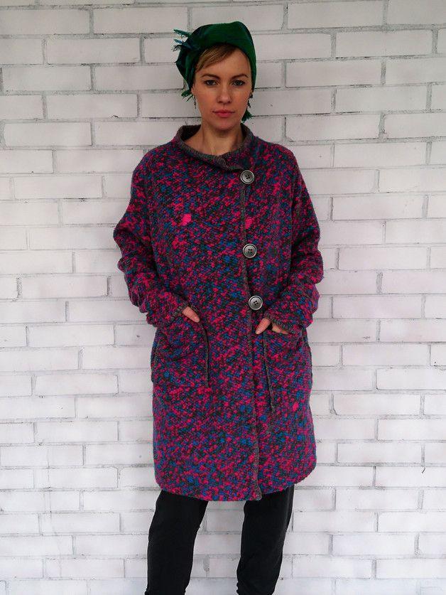 Swetro Płaszcz oversize popielaty róż - SansaraShop - Swetry i bezrękawniki