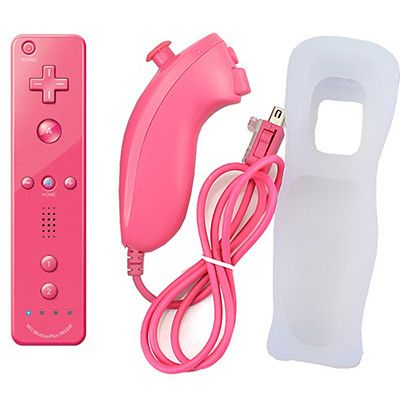 2017 Remote and Nunchuk Controller Combo Built in MOTION PLUS for Nintendo Wii Controller MotionPlus with Silicone Case