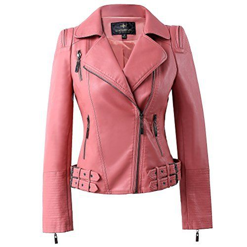 New Trending Outerwear: LLF Womens Faux Leather Zip Up Moto Biker Jacket With Many Details Large Pink (15H102). LLF Womens Faux Leather Zip Up Moto Biker Jacket With Many Details Large Pink (15H102)  Special Offer: $49.99  322 Reviews Zipper opening,pockets on front,Decorative belt and many details69.5% PU,25.5% Polyester,5% Cotton;Fully linedDesigned by Milan famous designer,well made and good...