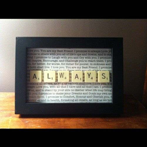framed wedding vowsFirst Dance, Wedding Songs, Anniversaries Gift, Gift Ideas, Cute Ideas, Wedding Vows, Songs Lyrics, Scrabble Tile, Scrabble Letters