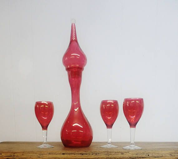 Cranberry Pink Glass decanter Tall Stopper three opalescent