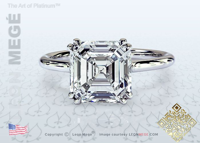 Asscher Cut Diamond Solitaire Engagement Ring by Leon Megé