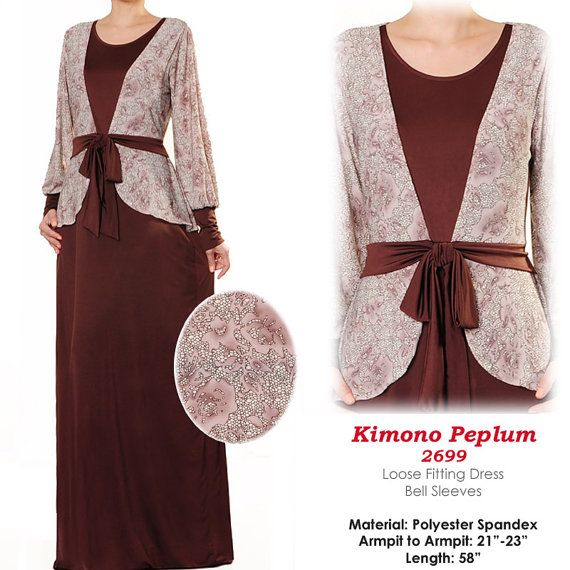2699 Brown Kimono Abaya Long Sleeves Islamic Maxi by MissMode21, $34.00