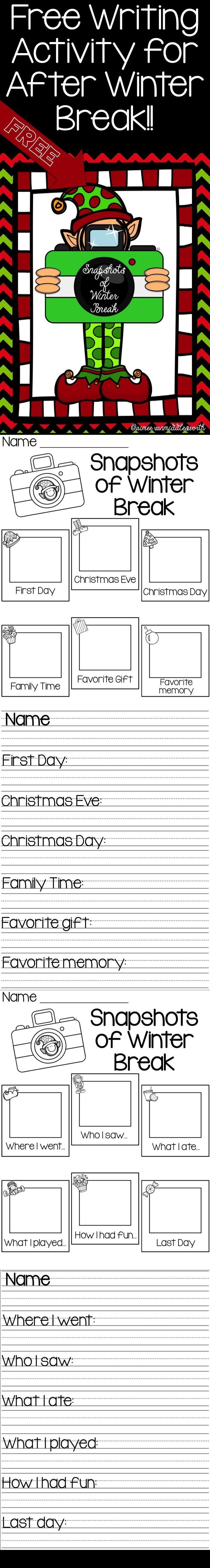 FREEBIE!!! Student writing activity for after Winter Break.