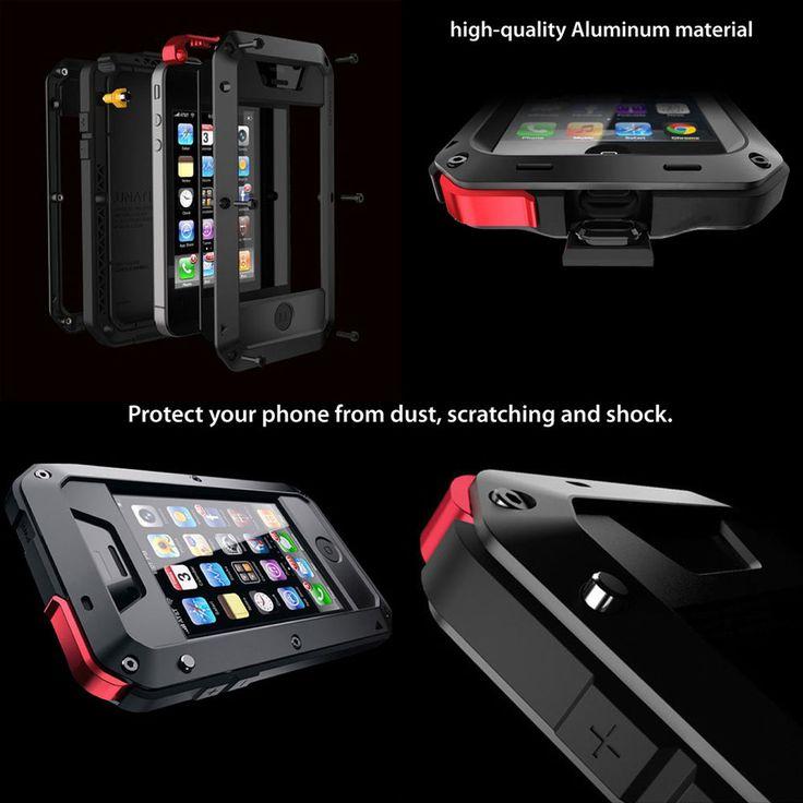 Apple iPhone Aluminium métal étanche Gorilla verre coque housse étui antichoc