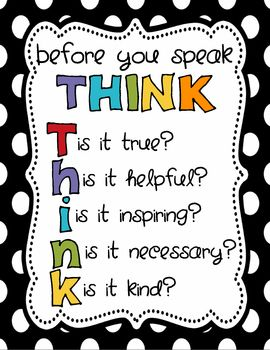 Little 8.5x11 Think Poster - something we ALL need to do but I try to STRESS with my kiddos!