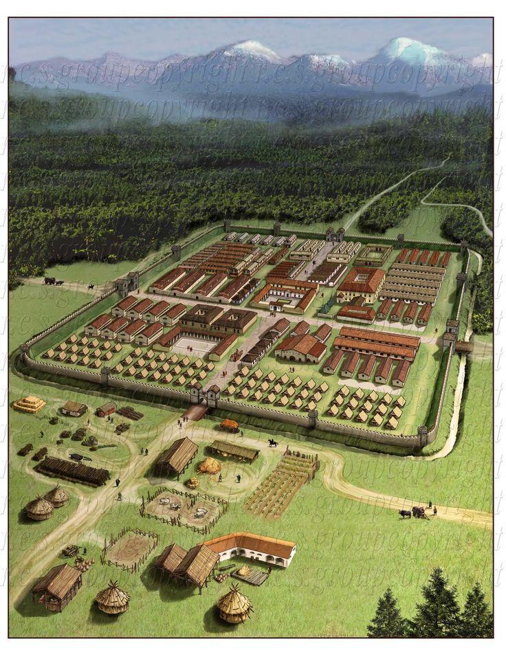 """Roman Castrum - on the border (""""limes"""") with Germany, castrum stativum (permanent camp) for the Cohort 'IX Batavorum equitata milliaria exploratorum', ~ 1000 cavalry men"""