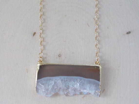 Amethyst Necklace Raw Amethyst Amethyst Slice by MalieCreations