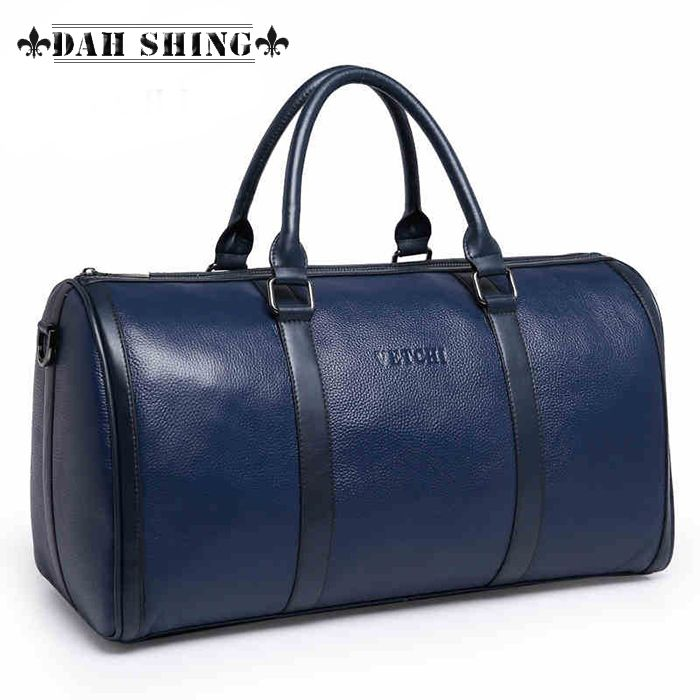 Solid colors crocodile skin pattern large 100% genuine leather cowhide weekend bag for men's travel bags luggage duffle 47*25cm