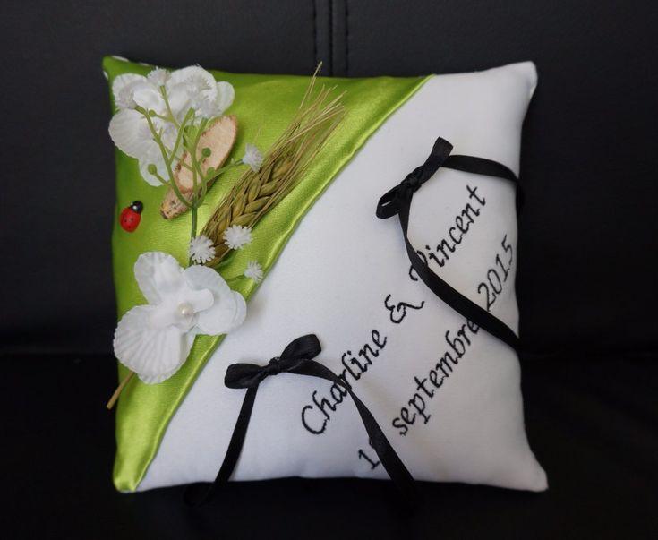 lafeecouturiere - Coussin d'alliances champêtre vert anis