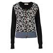 Orla Kiely | USA | Clothing | SALE - Knitwear | Blossom Flower Jacquard Cardigan (17SKBFJ211) | Black