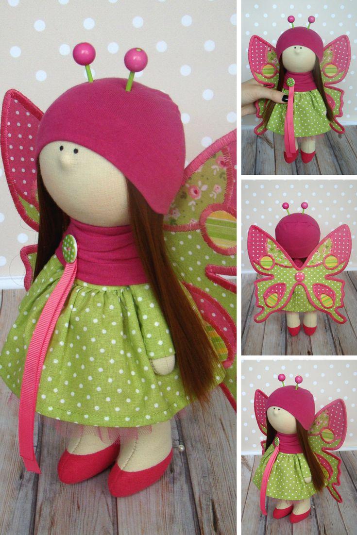 Handmade doll Butterfly doll Muñecas Art doll Fabric doll Rag doll Baby doll Red doll Bonita Tilda doll Cloth doll Textile doll by Olga G