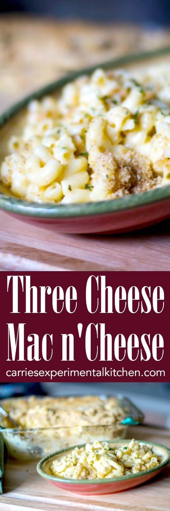 This Three Cheese Mac n' Cheese is so creamy. It's made with Velveeta, Asiago and Pecorino Romano cheeses; then baked until hot and bubbly. #pasta #casserole #cheese  ##macandcheese