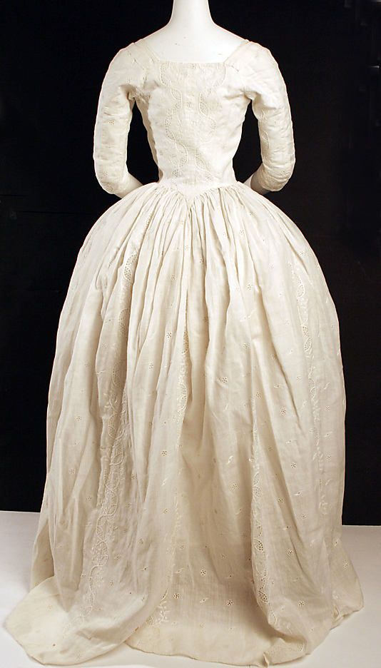 Back view, Dress (Robe à l'Anglaise), British, c 1780, cotton, flax. Metropolitan Museum of Art.