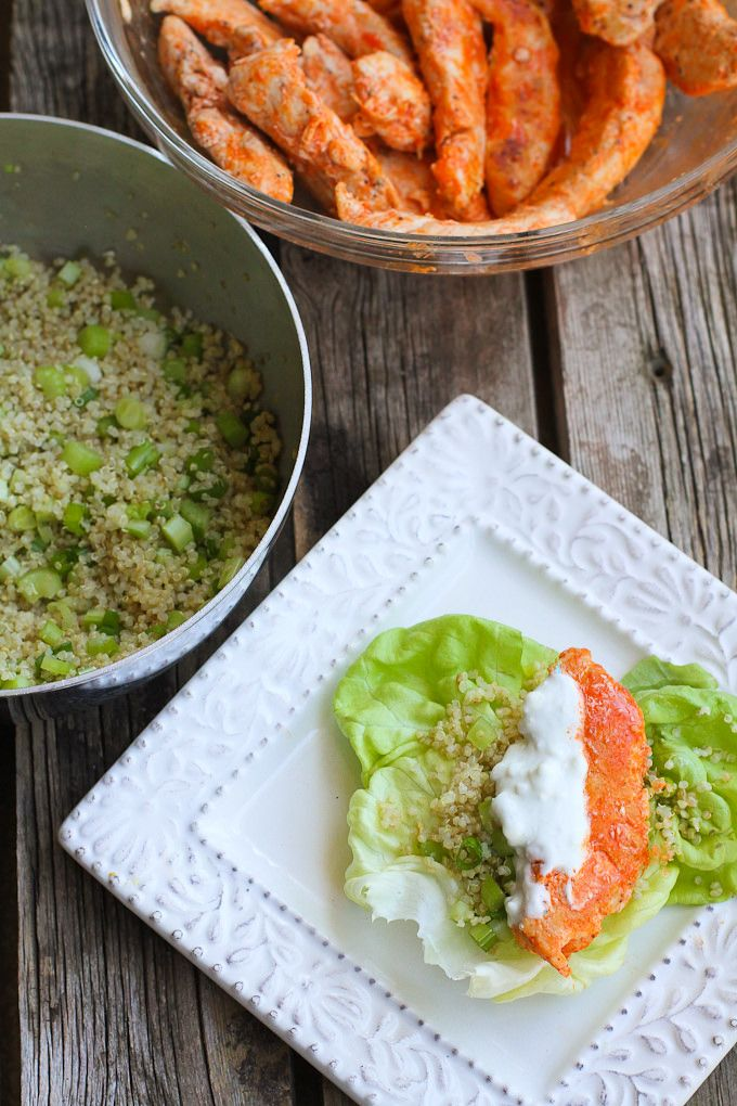 Buffalo Chicken Lettuce Wraps with Quinoa…Lighten up Buffalo chicken by sautéing chicken tenders and serving them in lettuce wraps with a crunchy quinoa vegetable mix.  249 calories and 5 Weight Watchers SmartPoints -