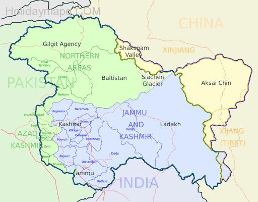 awesome Map of kashmir