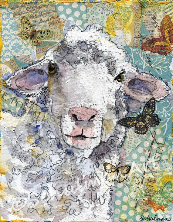 Add some brightness to your country kitchen with colorful artwork! Mixed media painting pictures a portrait of a white lamb with pink nose and ears on a baby blue background. Impressionist sheep painting will enhance nursery room decor and farm animal art is always adorable in a country kitchen. Collect the print starting at $24... https://www.etsy.com/listing/91691033/lamb-art-white-sheep-farm-animal-mixed