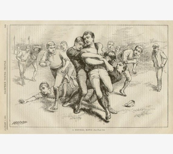 Football Match American antique print engraving