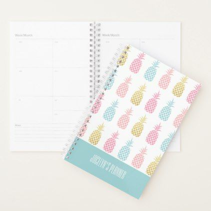 Modern Tropical Gold Pineapple Monogram Planner - monogram gifts unique design style monogrammed diy cyo customize