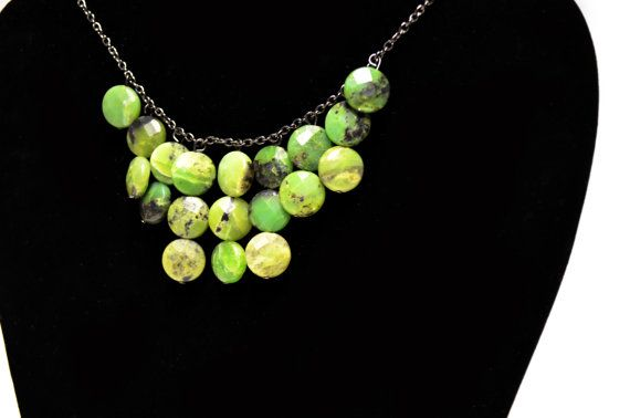 Green Stone Bib Necklace  Green and Black by FernsAreGreen on Etsy