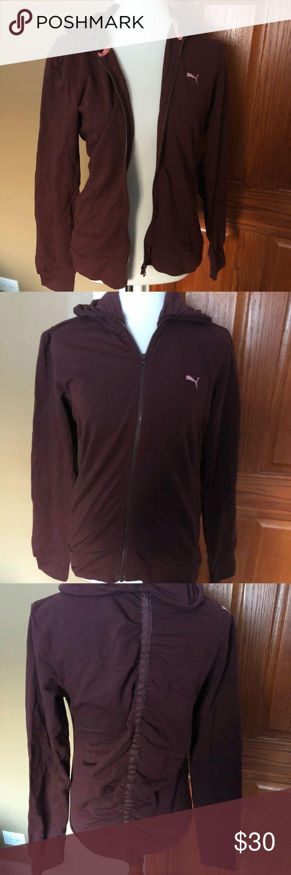Burgundy puma zip up Stretchy burgundy puma full zip sweater with detail in back Puma Tops Sweatshirts & Hoodies