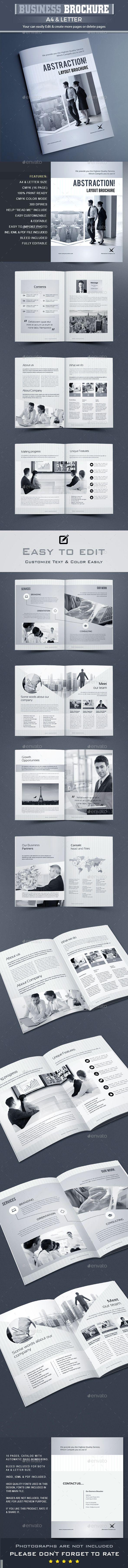 Abstrakt - Corporate Brochure Template InDesign INDD - 16 Unique Pages, A4 & US Letter Size #design