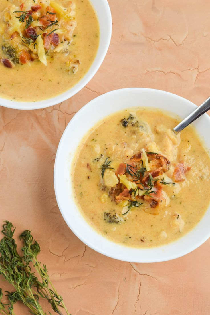 Roasted Cauliflower and Broccoli White Cheddar Soup