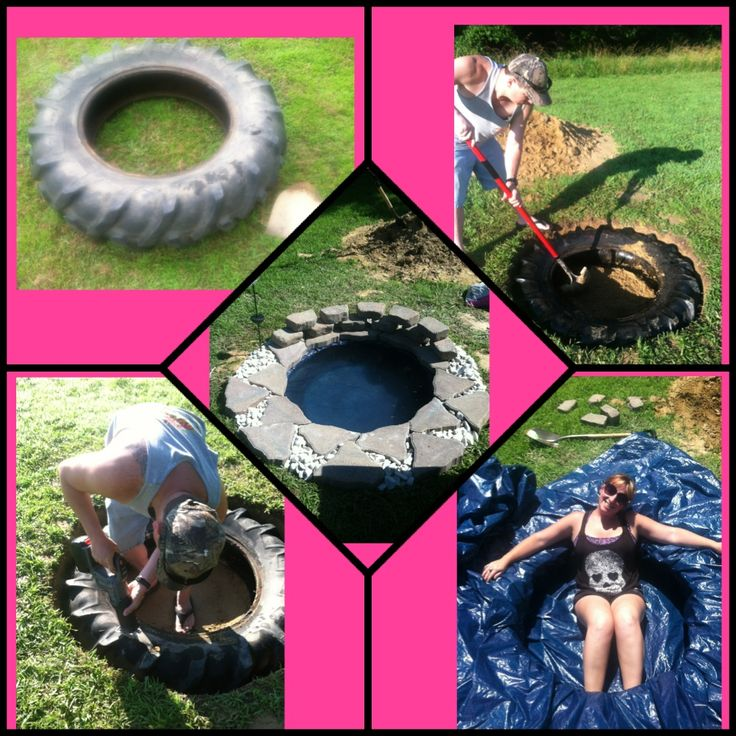 Diy tractor tire pond tires recycle repurpose pin it to for Tractor tire recycling