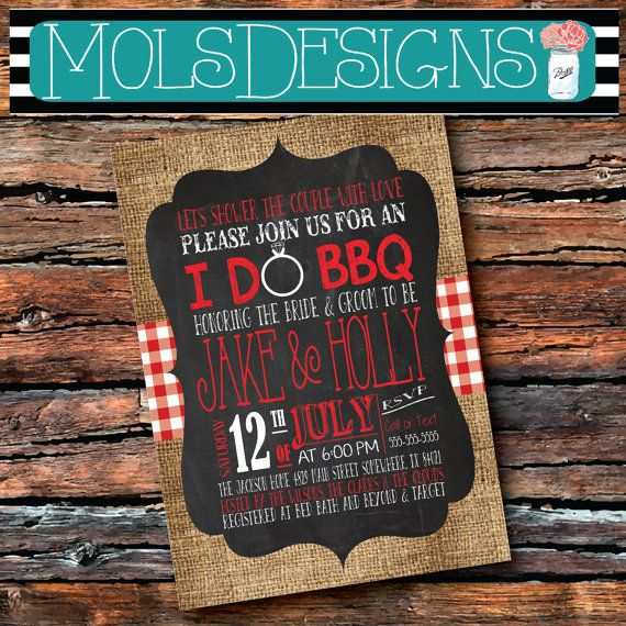 ANY Color I DO BBQ Burlap Red Gingham Wedding Shower Country Barbecue Chalkboard Surprise Birthday Baby Bridal Rehearsal Dinner Invitation