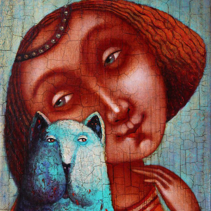 """Купить """"Девушка с котом"""", авторская печать - бирюзовый, Рыжая, рыжая девочка, кот, голубой, котик"""