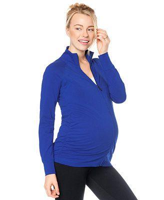 Motherhood Maternity Zip-Up Ruched Active Jacket