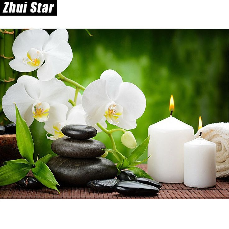 """Crafts 5D DIY Diamond Painting Embroidery Cross Flowers  """"Orchid Candles Stones"""" #ZhuiStar"""