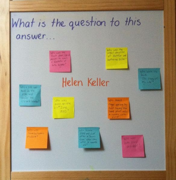 Write the answer in the middle of the board. Hand out post it notes for students to write questions that has that answer. Great to revise a topic or chapter of a book!