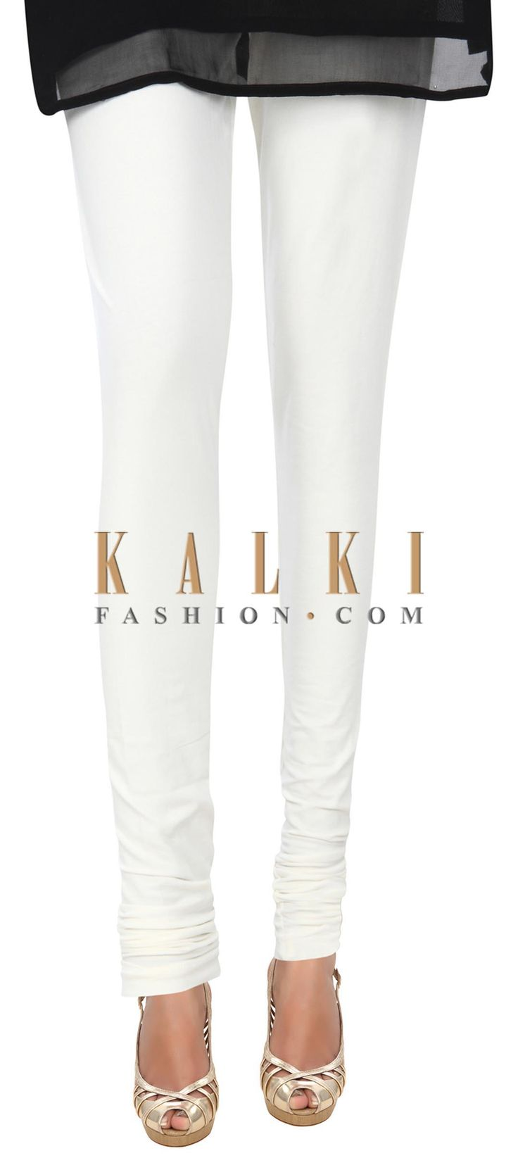Buy Online from the link below. We ship worldwide (Free Shipping over US$100) Price- $9 Click Anywhere to Tag http://www.kalkifashion.com/white-cotton-hosiery-legging-only-on-kalki-21464.html