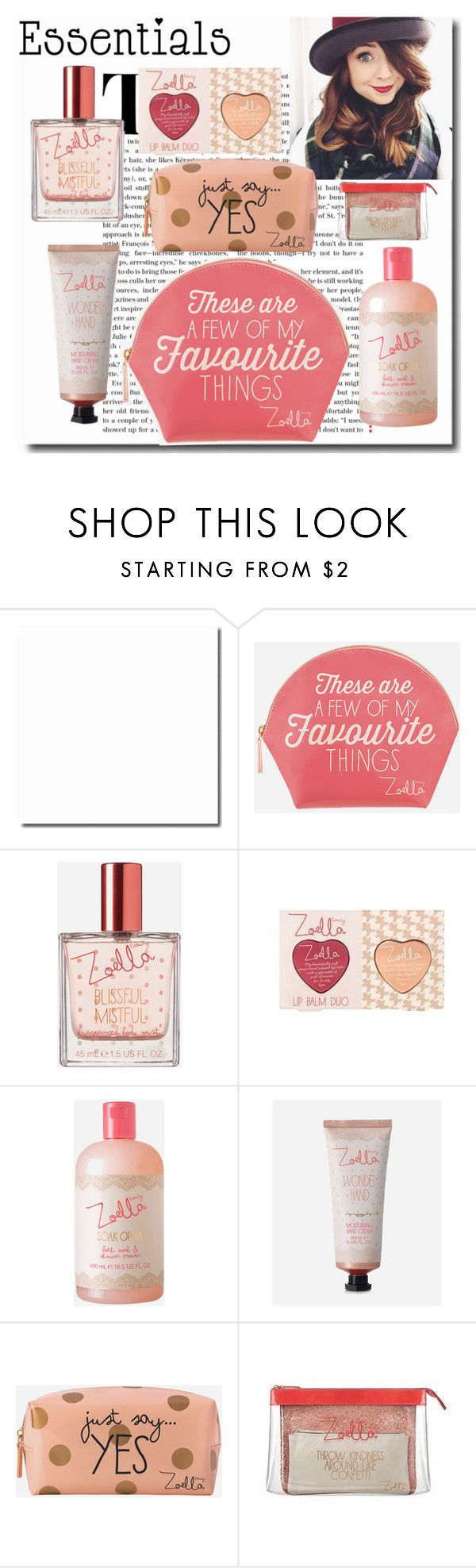 """""""Zoella Makeup Bag Staples"""" by emmy-124fashions ❤ liked on Polyvore featuring beauty, Zoella Beauty, contestentry, PVStyleInsiderContest and makeupbagstaples"""
