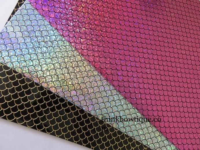 Faux Leather for Crafts and Bows Metallic Mermaid Scales Leatherette Fabric