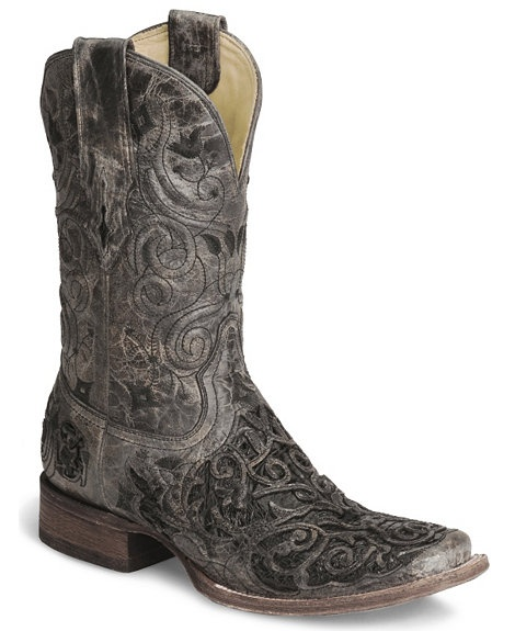 Corral Black Caiman Inlay Cowboy Boot - Wide Square Toe