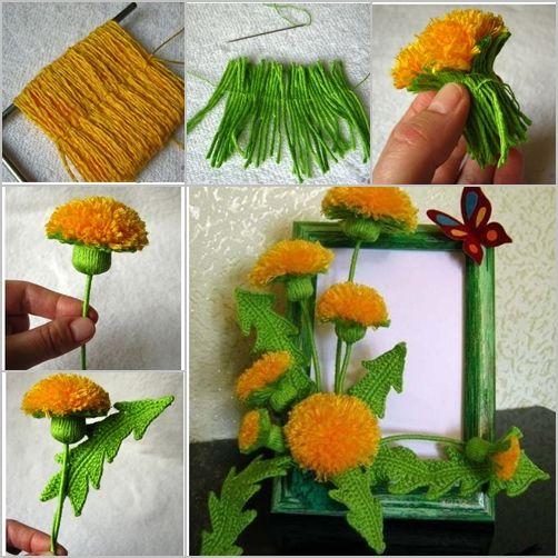 How to DIY Crochet Yarn Dandelion Bouquet (Free Pattern) #Craft, #Crochet, #Yarn