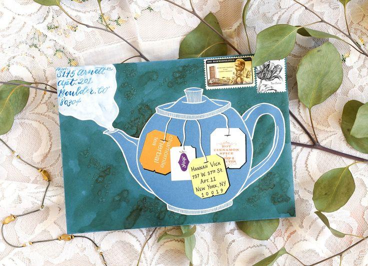 Illustrated Teapot Envelope Art Tutorial