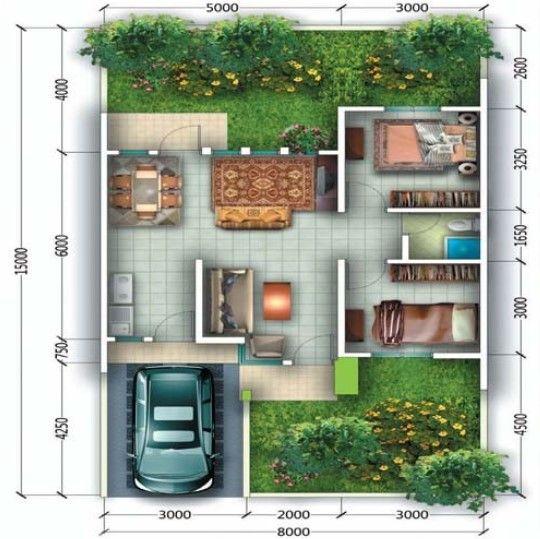 Contoh Gambar Taman dan Teras Rumah Minimalis type 36 45 1