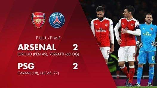 Arsenal 2 - 2 PSG  Champion league UEFA draw game. UEFA is going to qualified ! MQQ88 provided game match for you guys , let's click in this link and support your team !>>goo.gl/UR6MSy