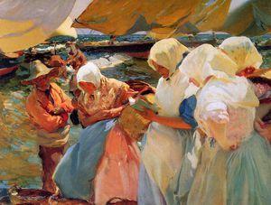 Fisher women at the beach Sun - (Joaquin Sorolla Y Bastida)