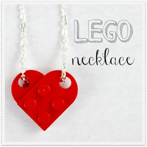 How to make a Lego heart necklace. Perfect gift for Valentine's Day.
