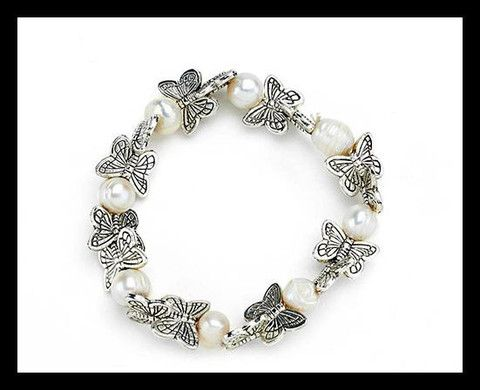 Silver and Cultivated Pearls Stretch Bracelet