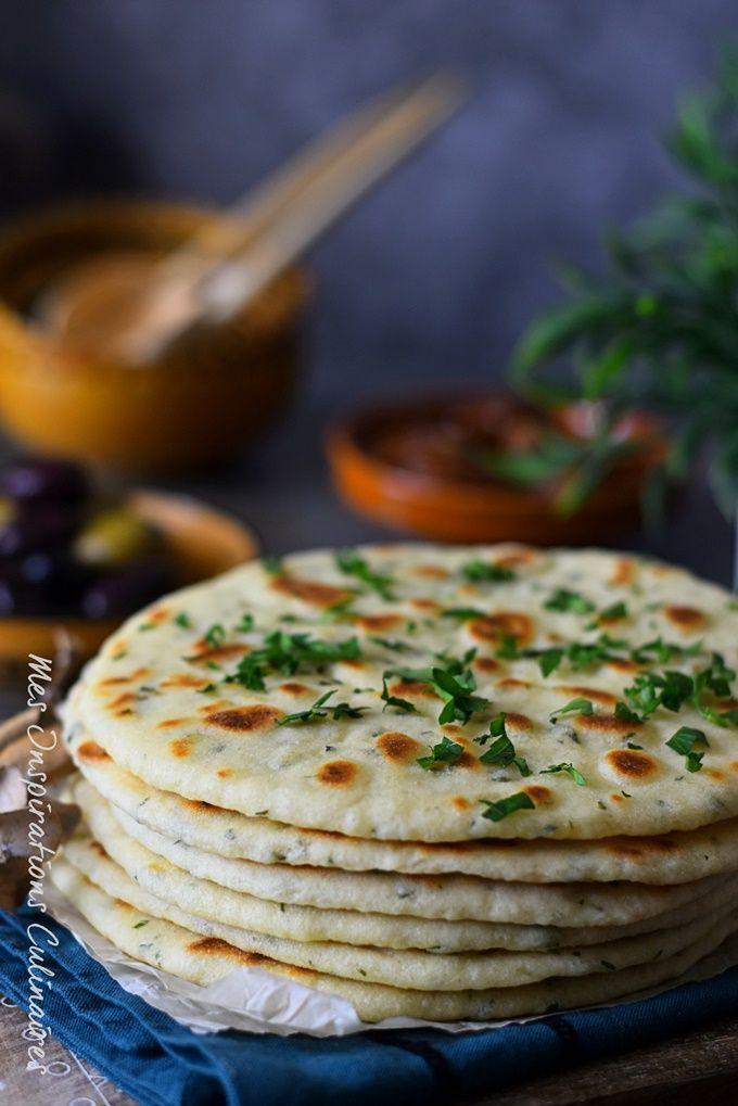 Pain Plat au yaourt à la poêle (flatbread) #recipes #easyrecipe #flatbread #ramadan #nokneadbread