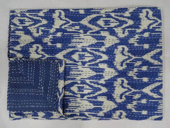 Gettare indiano Kantha Quilt Twin Size lenzuolo cotone fatto a mano disegno Ikat copriletto copriletto blu indaco