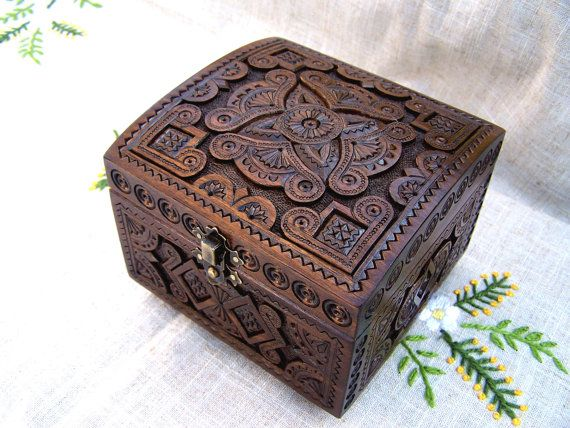 Jewelry box Ring box Wooden box Carved wood box by HappyFlying, $45.00