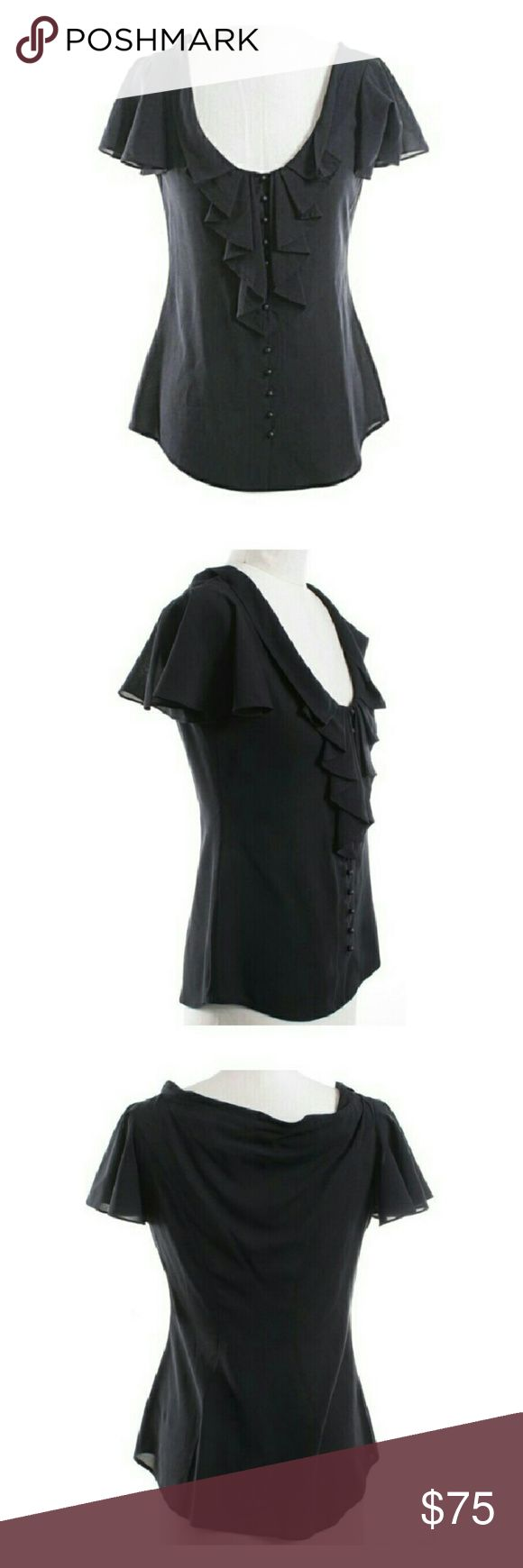 Zac Posen  Black Silk Ruffle Front Scoop Neck Top Zac Posen Black Silk Ruffle Front Scoop Neck Flutter sleeve top. Light and airy button up silk blend blouse. Ruffle front with a scoop neckline and flutter sleeves.Tiny button-and-loop front closure with spherical, black buttons. Seamed for a fitted silhouette. Pleated detailing at neckline. Interior snap tabs at shoulders to keep bra straps in place. Hits approximately at the hips. Tuck it into a pencil skirt and pair with some heels for a…