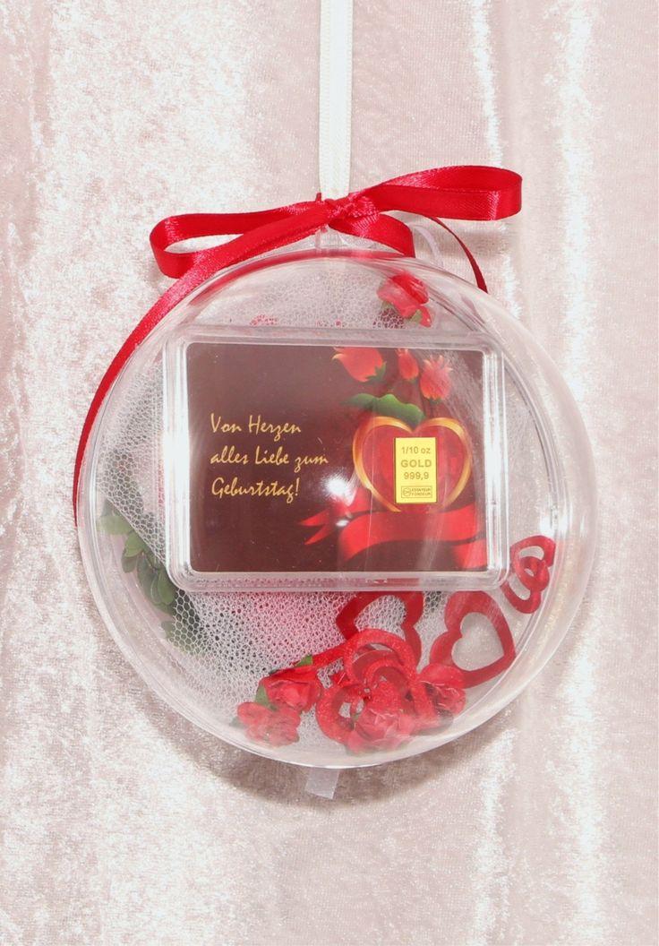 1/10 Unze (3,1 g Gramm) Gold Goldbarren zum Geburtstag Geschenk mit Herz & Rosen in dekorierter Acrylglaskugel Echtheitszertifikat von GPMetallum auf Etsy