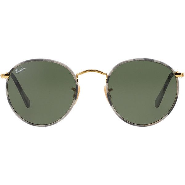 Ray-Ban Rb3447jm 50 Round Metal White Sunglasses ($175) ❤ liked on Polyvore featuring accessories, eyewear, sunglasses, glasses, ray-ban, round glasses, white sunglasses, metal glasses and white glasses